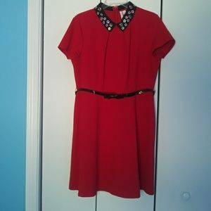NWT Red Dress with Peter Pan Collar Floral Detail